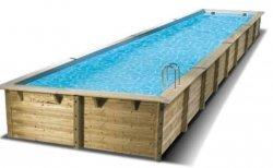 Groot houten inbouwzwembad Linéa